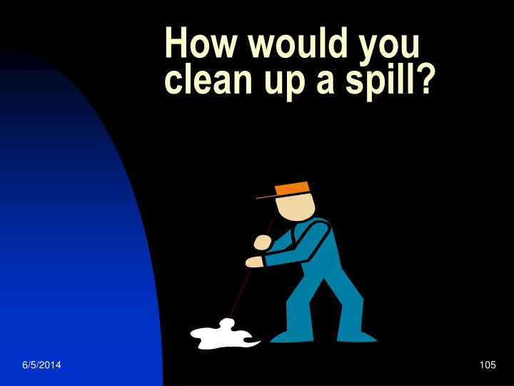 How would you clean up a spill?
