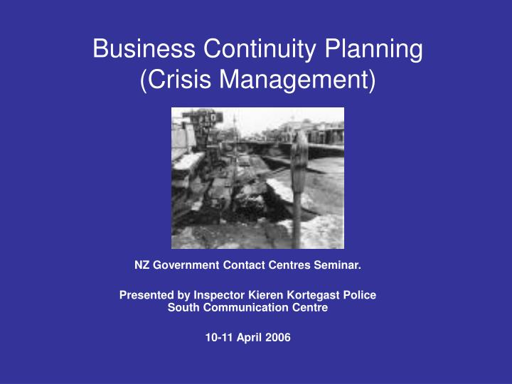 Business continuity planning crisis management