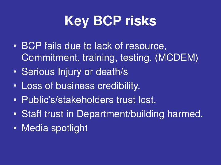 Key BCP risks