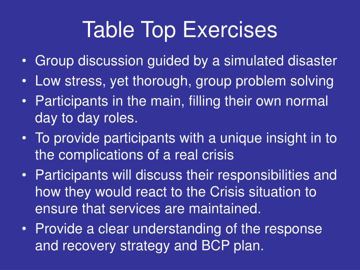 Table Top Exercises