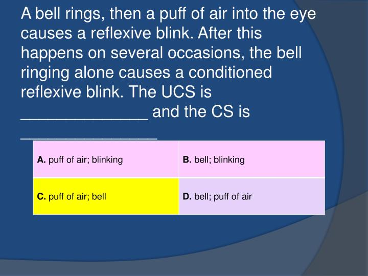 A bell rings, then a puff of air into the eye causes a reflexive blink. After this happens on several occasions, the bell ringing alone causes a conditioned reflexive blink. The UCS is ______________ and the CS is _______________