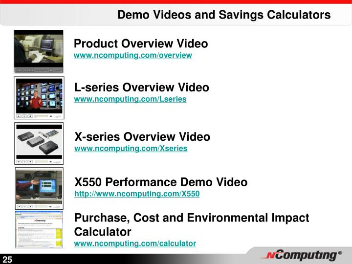 Demo Videos and Savings Calculators