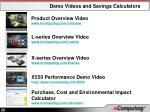 demo videos and savings calculators