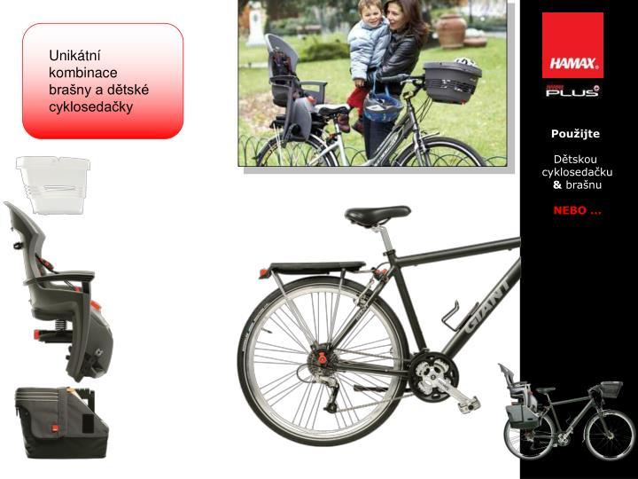 Unikátní kombinace brašny a dětské cyklosedačky