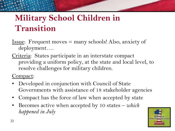Military School Children in Transition
