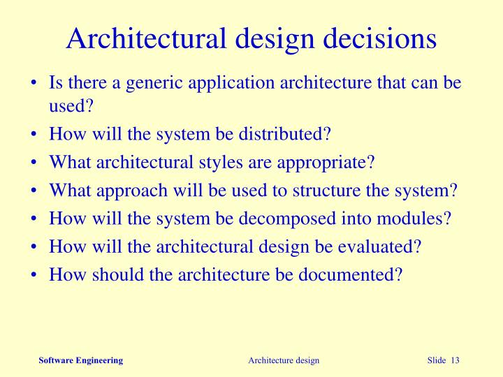 Architectural design decisions