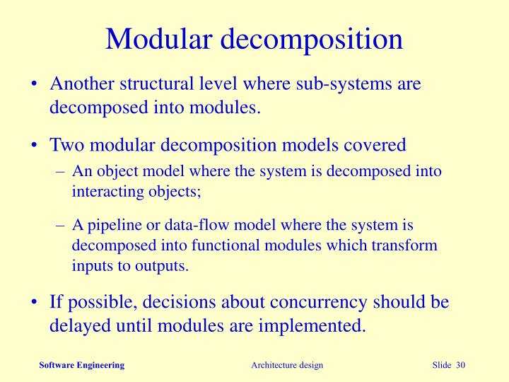 Modular decomposition
