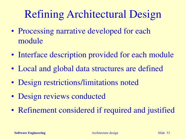 Refining Architectural Design