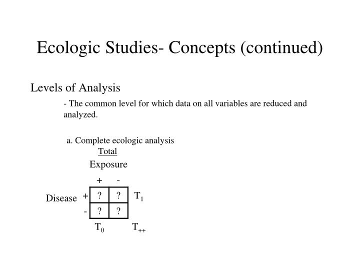 Ecologic Studies- Concepts (continued)