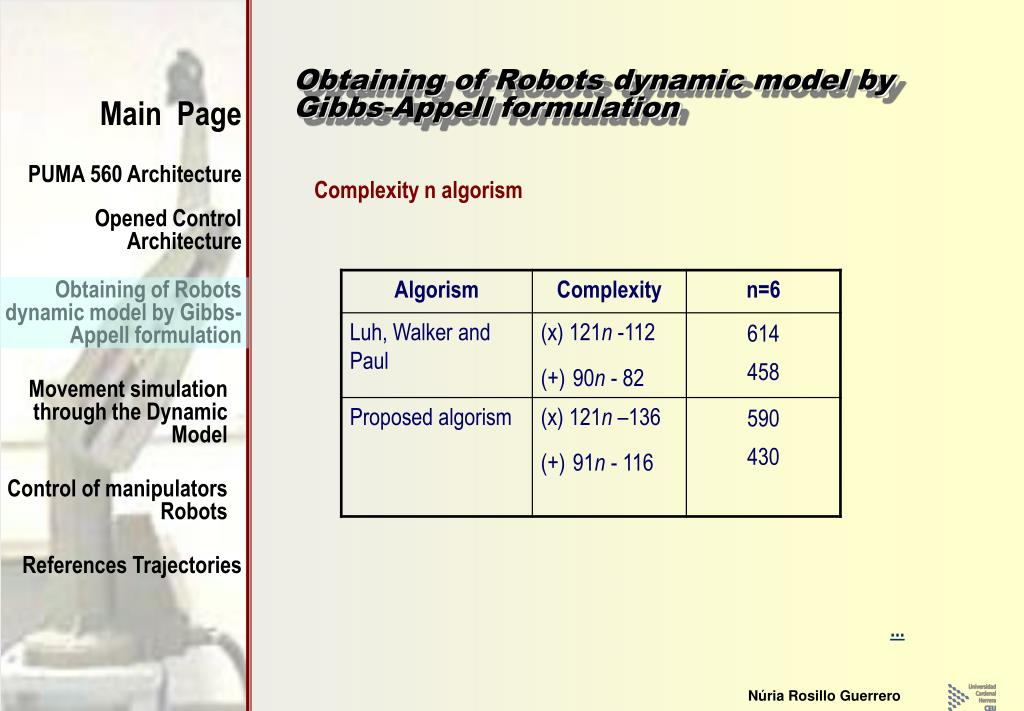 Obtaining of Robots dynamic model by Gibbs-Appell formulation