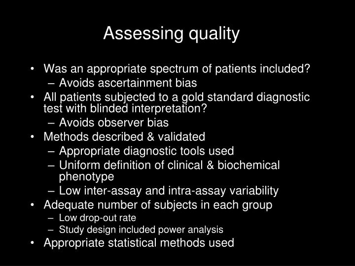 Assessing quality