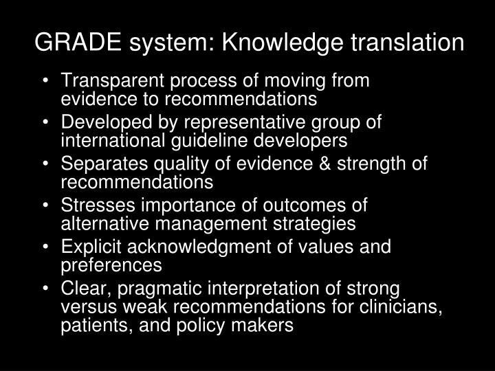 GRADE system: Knowledge translation