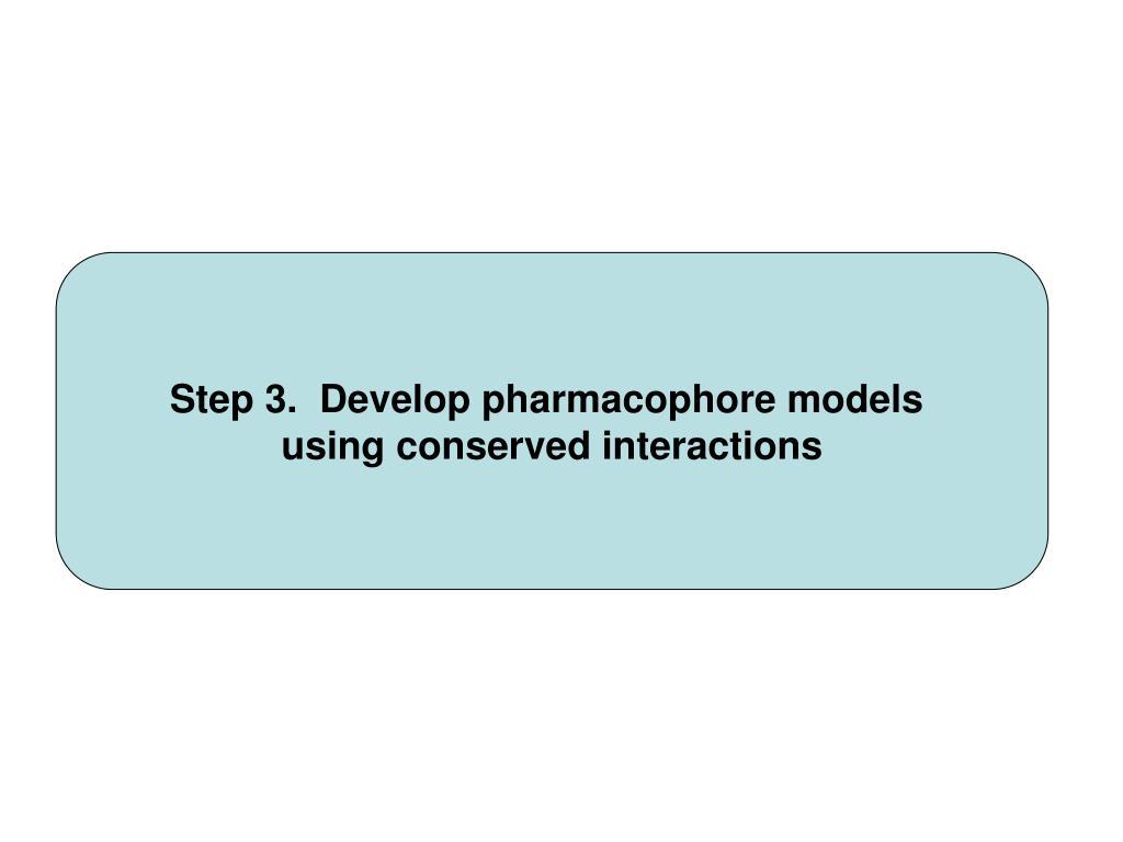 Step 3.  Develop pharmacophore models