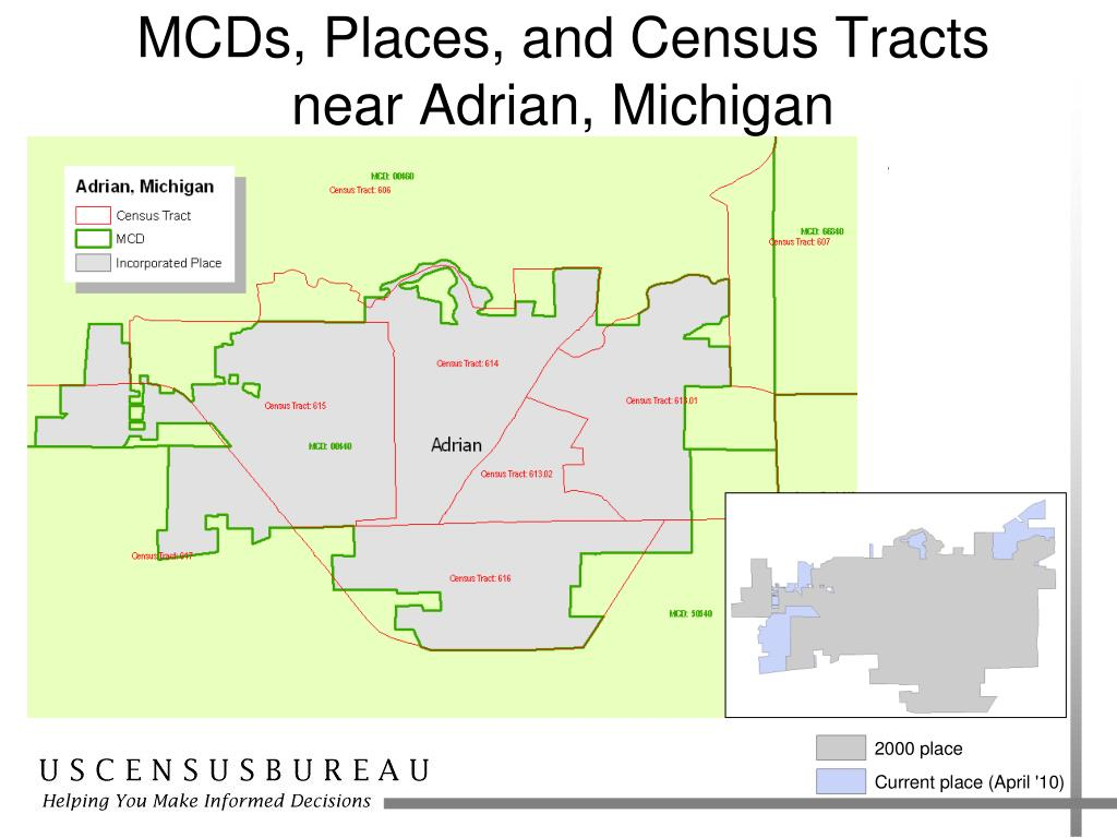 MCDs, Places, and Census Tracts near Adrian, Michigan