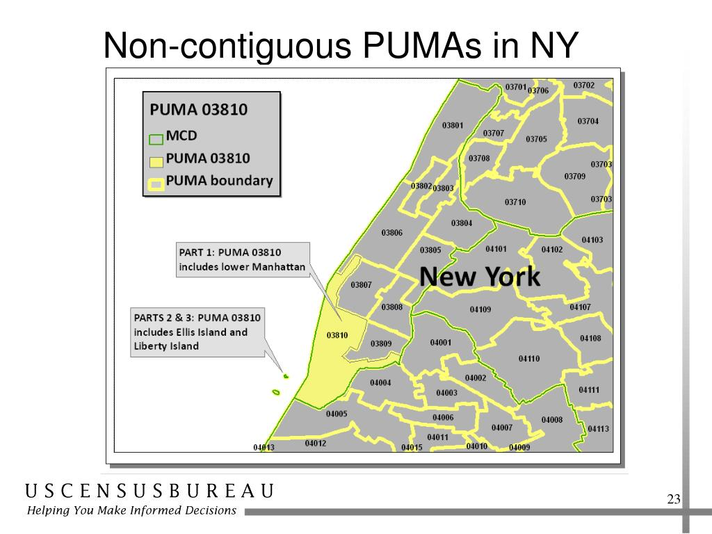 Non-contiguous PUMAs in NY