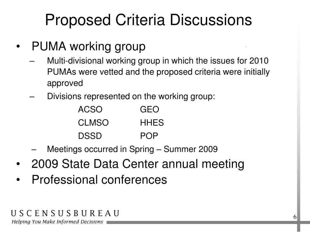 Proposed Criteria Discussions