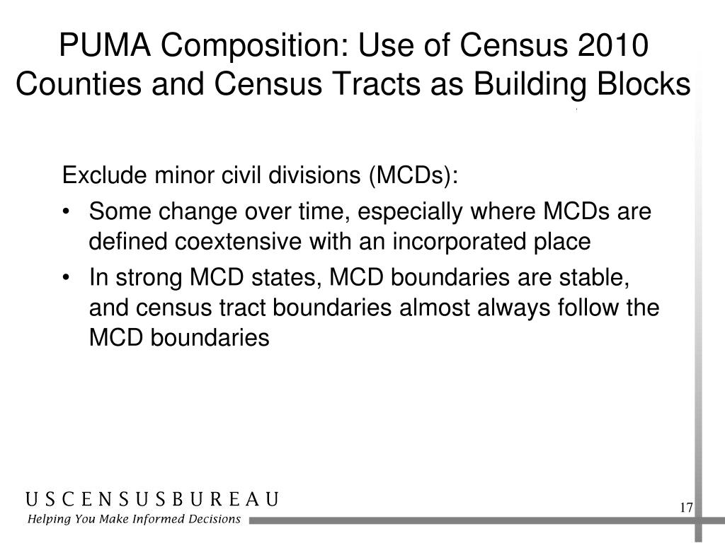 PUMA Composition: Use of Census 2010 Counties and Census Tracts as Building Blocks