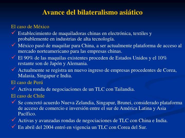 Avance del bilateralismo asitico