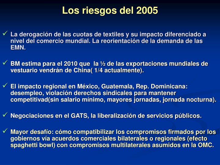 Los riesgos del 2005
