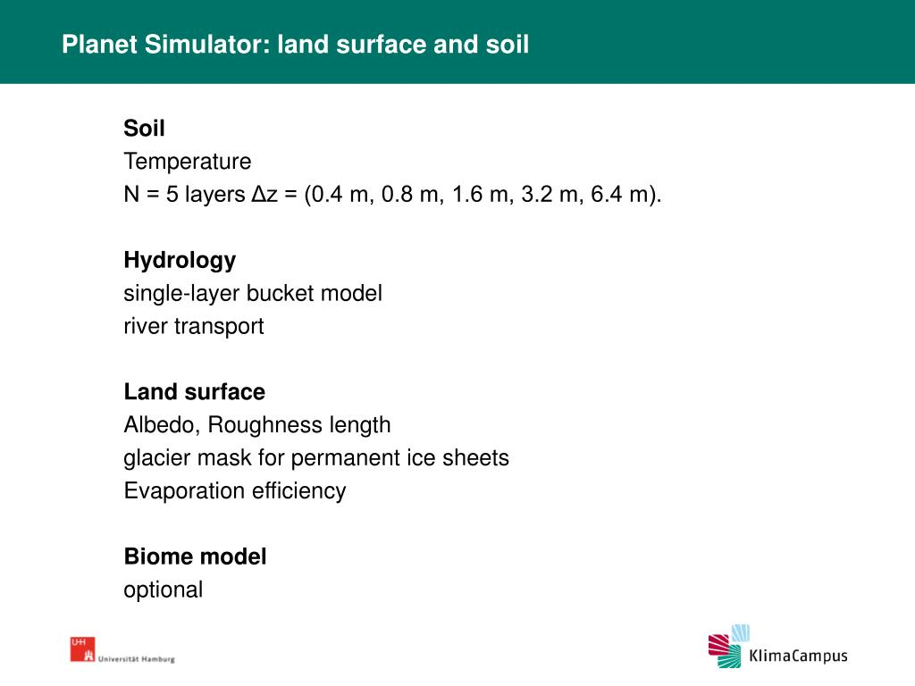 Planet Simulator: land surface and soil