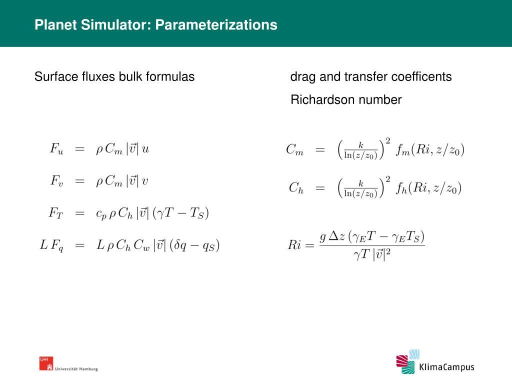 Planet Simulator: Parameterizations