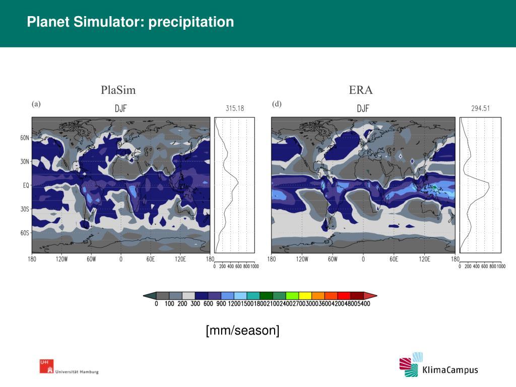 Planet Simulator: precipitation