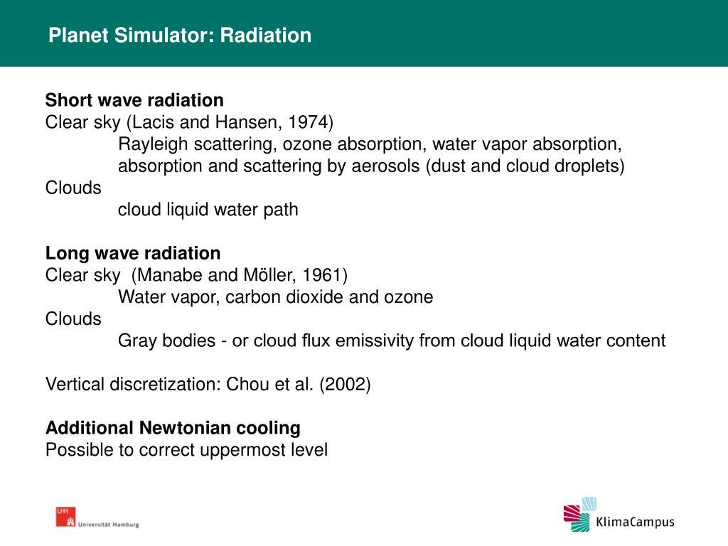 Planet Simulator: Radiation
