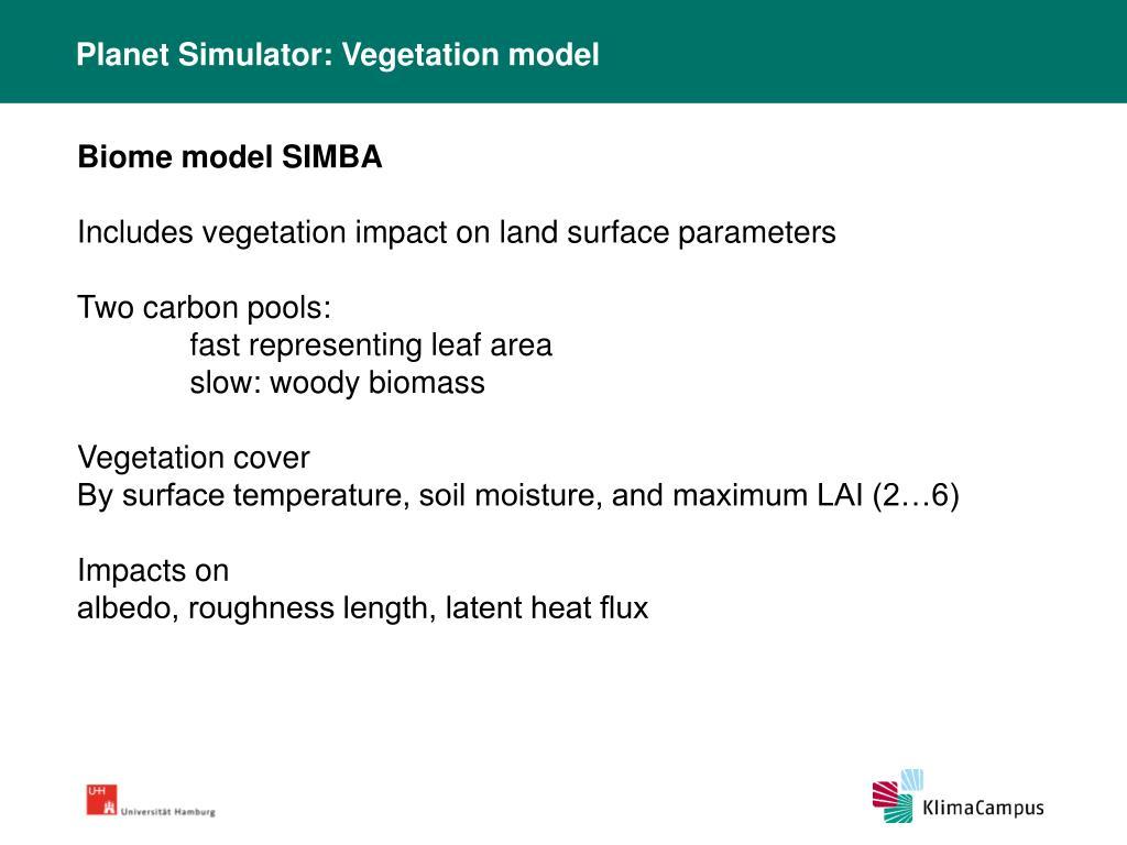 Planet Simulator: Vegetation model