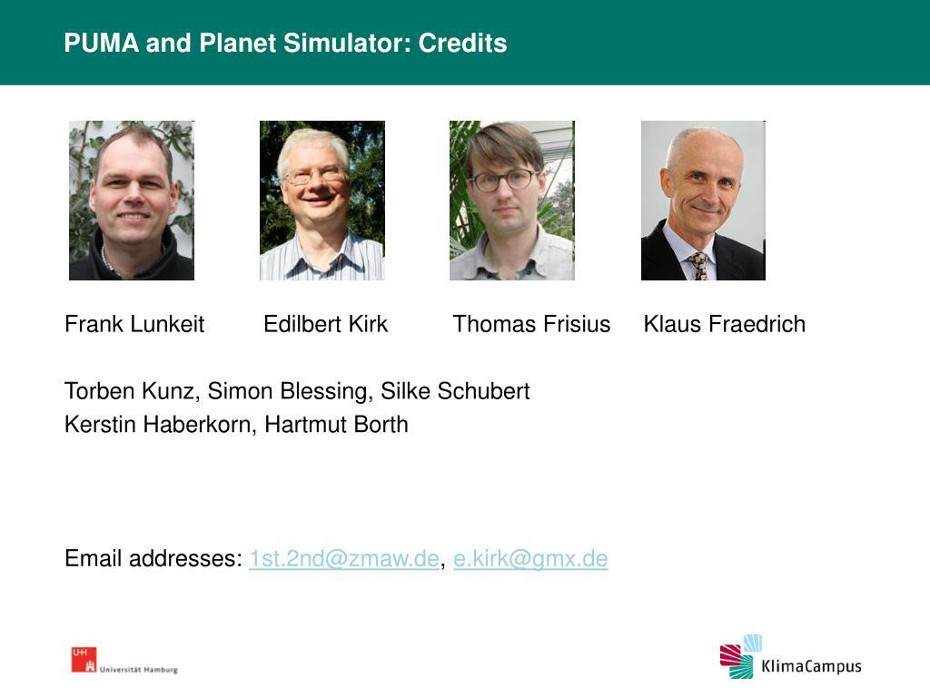 PUMA and Planet Simulator: Credits