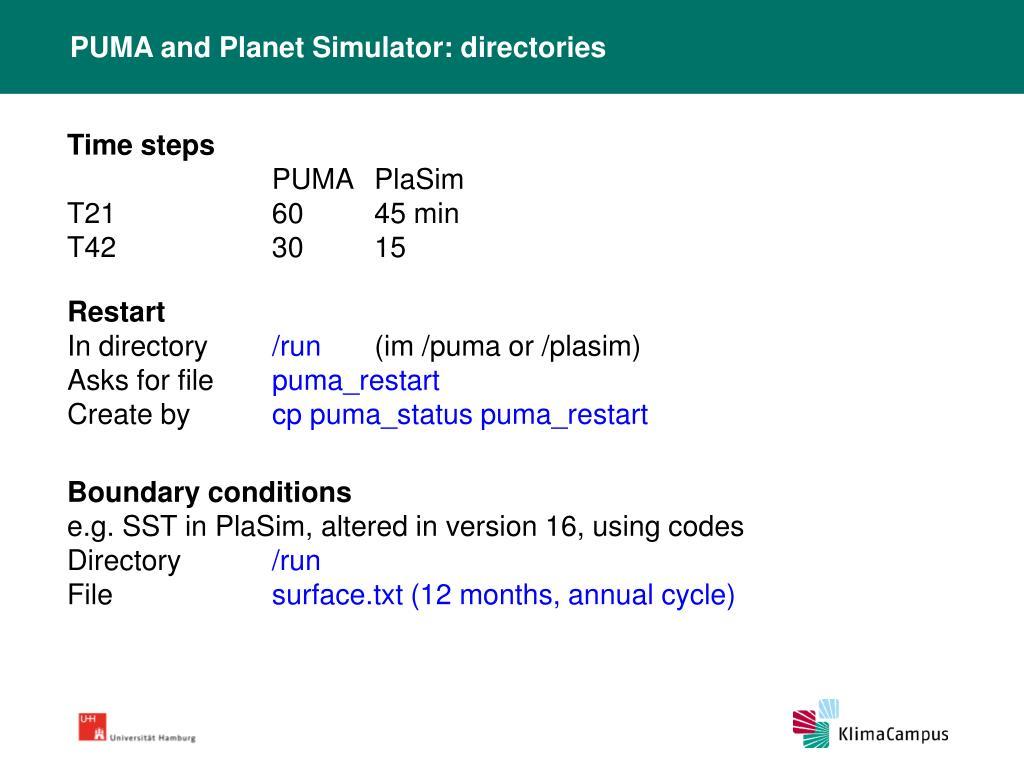 PUMA and Planet Simulator: directories