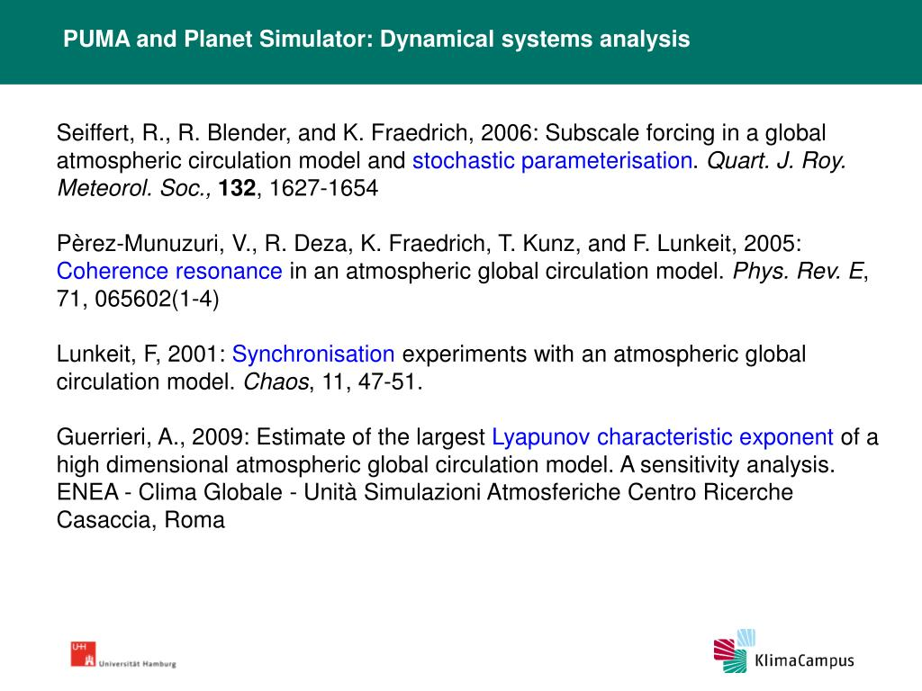 PUMA and Planet Simulator: Dynamical systems analysis