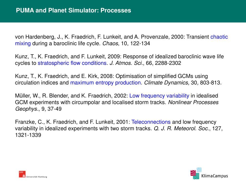PUMA and Planet Simulator: Processes