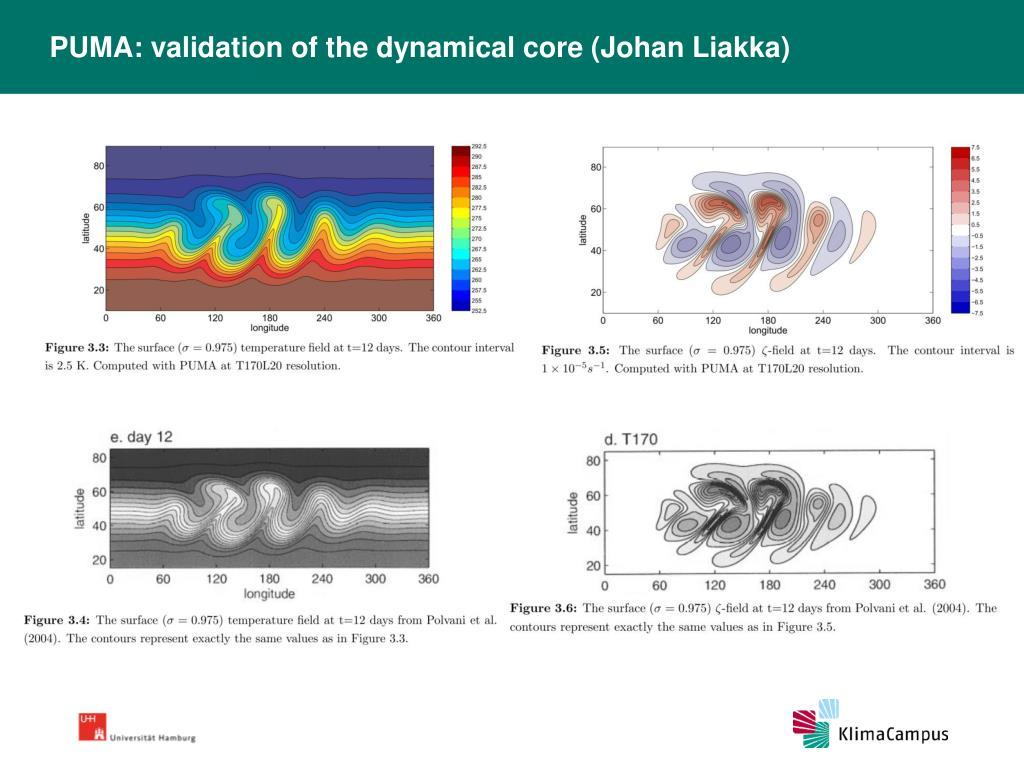 PUMA: validation of the dynamical core (Johan Liakka)