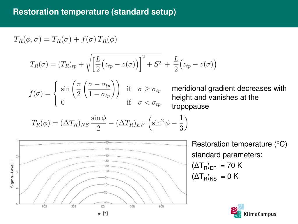 Restoration temperature (standard setup)