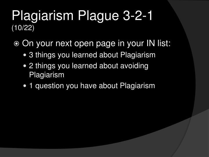 Plagiarism Plague 3-2-1