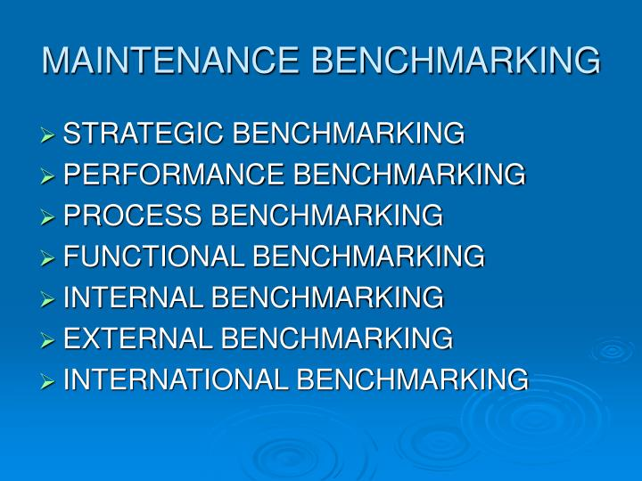 MAINTENANCE BENCHMARKING