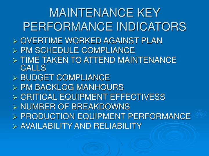 MAINTENANCE KEY PERFORMANCE INDICATORS