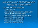 maintenance performance measure indicators