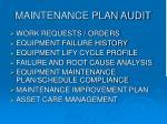 maintenance plan audit
