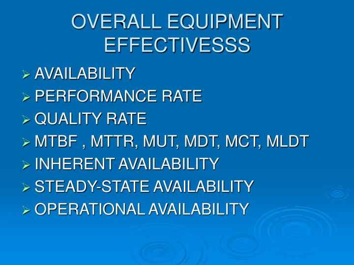 OVERALL EQUIPMENT EFFECTIVESSS