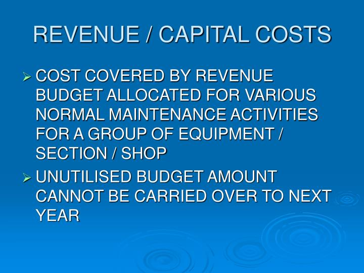 REVENUE / CAPITAL COSTS
