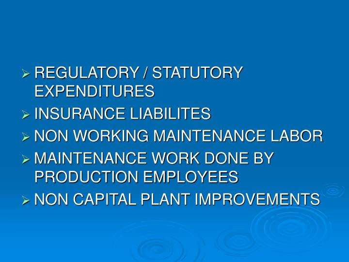 REGULATORY / STATUTORY EXPENDITURES