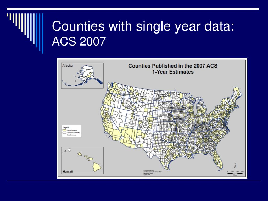 Counties with single year data: