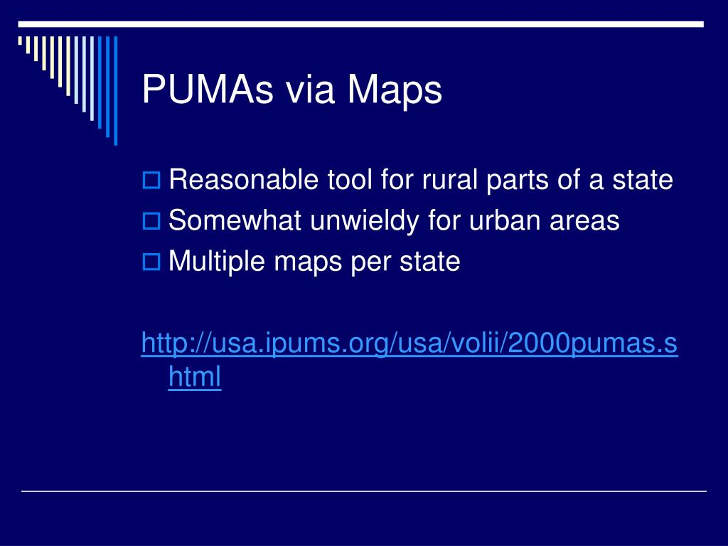 PUMAs via Maps
