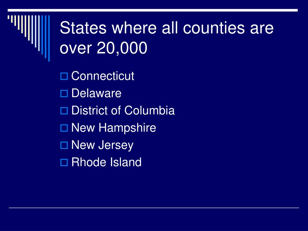 States where all counties are over 20,000