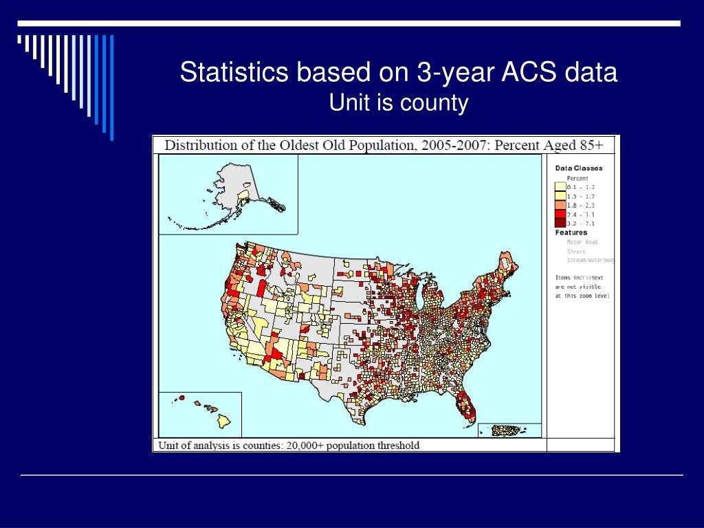 Statistics based on 3-year ACS data