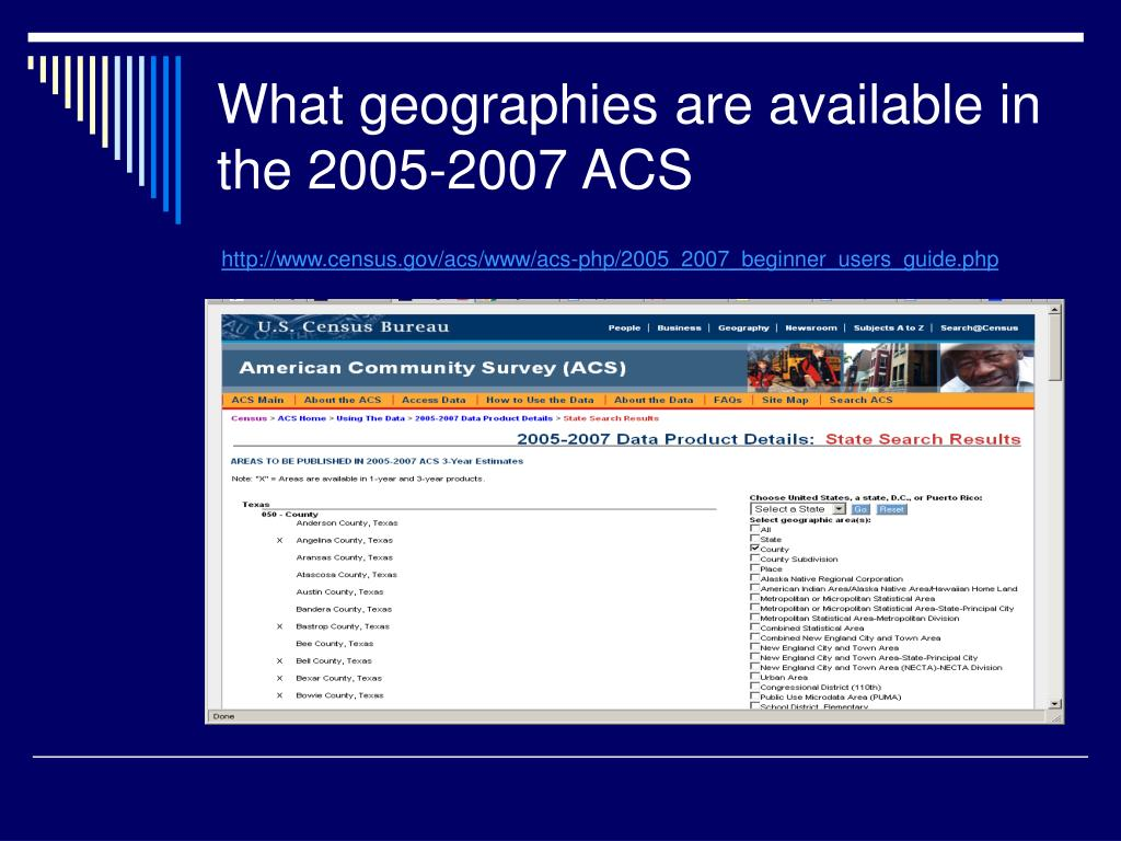 What geographies are available in the 2005-2007 ACS