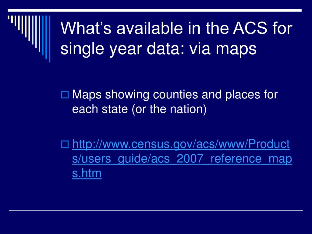 What's available in the ACS for single year data: via maps