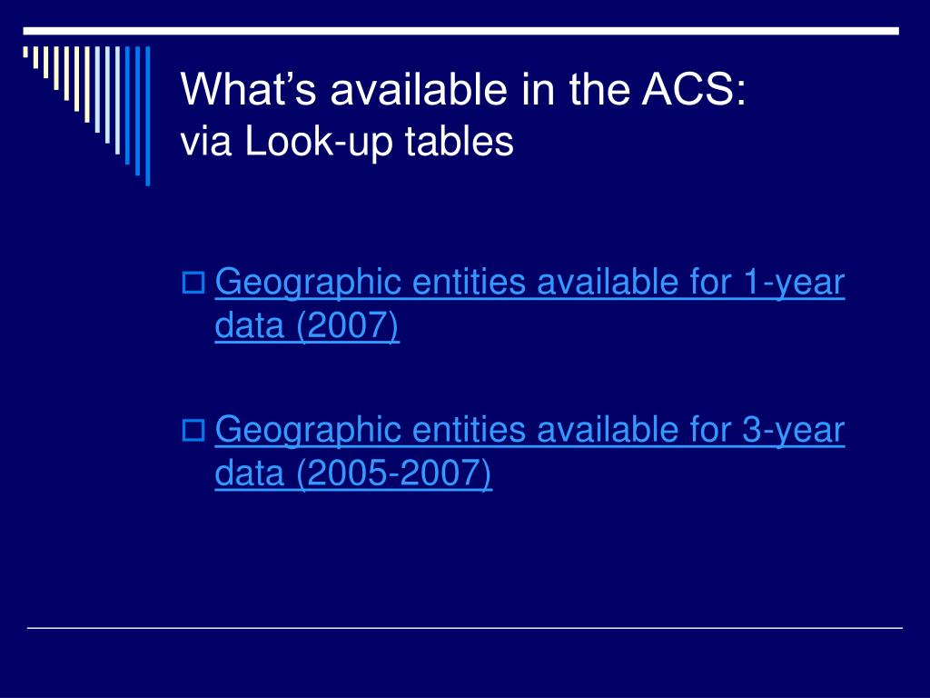 What's available in the ACS: