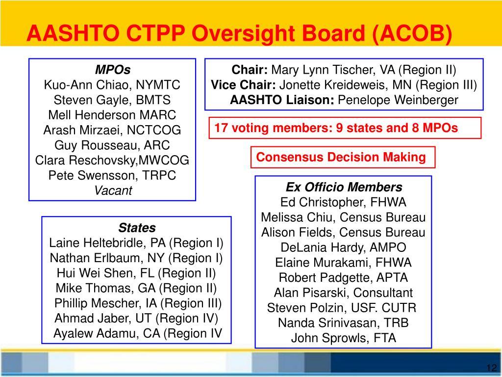 AASHTO CTPP Oversight Board (ACOB)